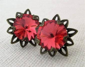 Peach Pink Swarovski Crystal Earrings, Rhinestone Floral Brass, Padparadscha, Rivolis, Small Stud Earrings, Bridesmaid Earrings