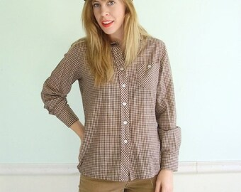 30% off ... Checkered Brown Plaid Long Sleeve Shirt - Button Down - Prep - Vintage 80s - Small S Medium M