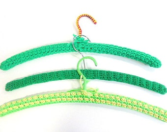 Vintage Crochet Covered, Wood Hangers, Set of 3 - Shades of Green,  Retro Decor, Clothing Display