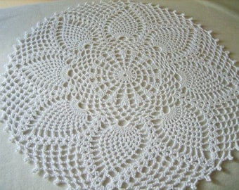 Crochet, white, pineapple designed  doily, new, ready to mail