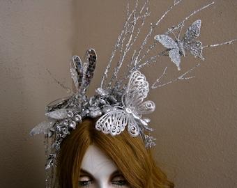 Midnight Magic: Fairy Headpiece Dragonfly Butterfly Fascinator Silver Rhinestones Sparkling LONG Crystal Tassel Faerie Sprite Fantasy Jewels