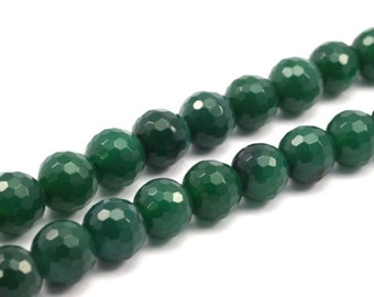 Green Agate 10 mm Disco Faceted Gemstone Round Beads Full Strand 15.5 inches
