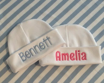 Infant baby cap.  Personalized white baby hat.