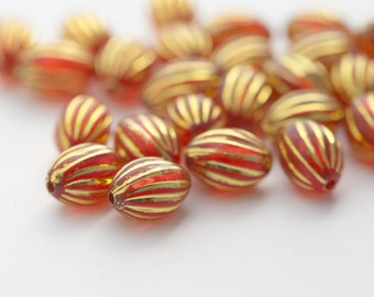 Acrylic Beads Red Gold Fluted Oval 11mm (25)