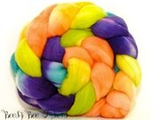 SUMMER of LOVE - Domestic Targhee Superwash Hand Dyed Wool Combed Top Roving - 4.2 oz