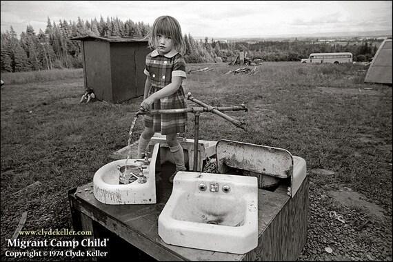 MIGRANT CAMP CHILD, Ron's Upper, Oregon, Clyde Keller photo, 1973, Fine Art Print, Black and White, Signed