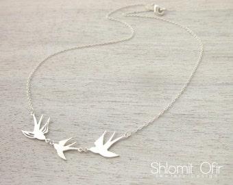 Sterling Silver Bird Trio Necklace, Statement Necklace, 925 Silver Necklace