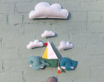 Whale Mobile - Nursery, Boy, Marine, Handmade, Decor, Baby