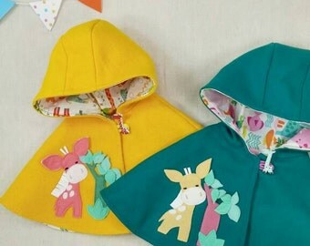 Children Capelet - Baby Girl, Cape, Poncho, Hood, Giraffe, Gift
