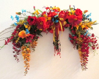 Colorful Tuscany Red, Gold, Black and Turquoise Beaded Victorian Horizontal Wall Swag