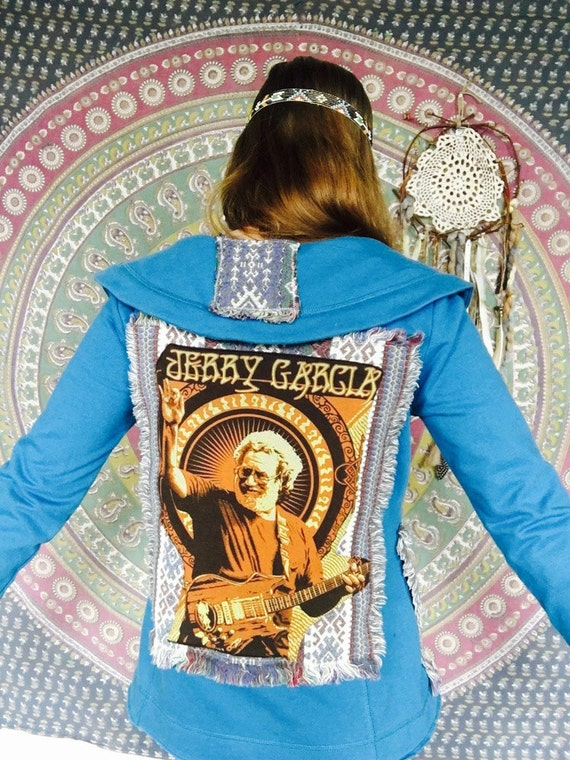 Jerry Garcia Grateful Dead Upcycled Womens Clothing Hippie Boho Blues Native Woven Fabric Applique Button Up Sweatshirt Size Medium
