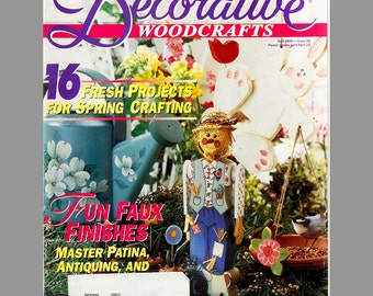 Lot of 5 Decorative Woodcrafts magazines 1996/1997, Bunnies Scarecrows, Flowers, Christmas ornaments, Mineatures, Easy to do, Learn to Paint