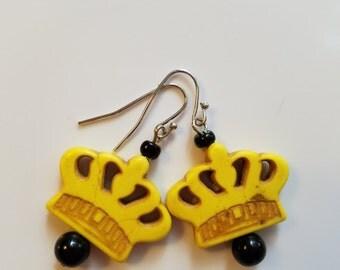 Yellow Crown Earrings *Free Shipping*