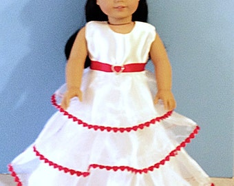 White Ruffle Gown with Bright Red Heart Trim - 18 Inch Doll Clothes