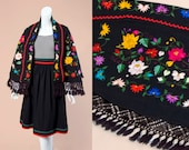 70s Black Wool Oaxacan Embroidered Shawl | One Size