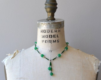 Tandem glass deco necklace | vintage 1930s necklace | green glass 30s deco necklace