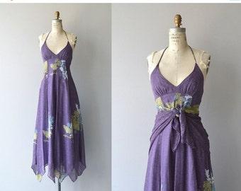 25% OFF.... Arjon halter dress and shawl | vintage 1970s dress | floral print 70s maxi dress