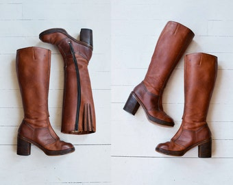 Penny platform boots | vintage 1970s platform boots | leather 70s knee high boots