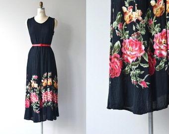 Rose Path dress | vintage cotton gauze dress | floral print 80s dress