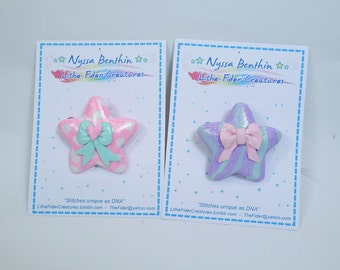 Fairy kei star pin brooch - ooak pastel polymer clay