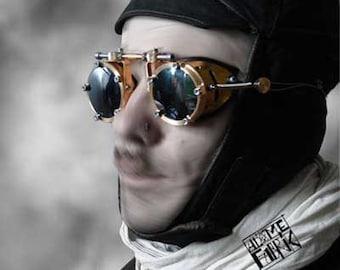 burning man steampunk brass aviator goggles - an atomefabrik timeless  classic -
