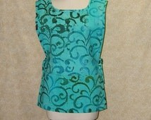 Sea Glass Swirls tunic apron cobbler batik cotton print 2 section pocket side ties undulating kelp turquoise aqua seaglass green smock style