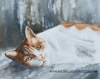 for her cat art print cat PRINT art cat Watercolor painting cat painting cat wall art cat artwork sleeping painting kitten NEW orange 8x10