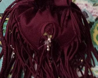 SALE. Beaded Burgundy Fringe Drawstring Bag