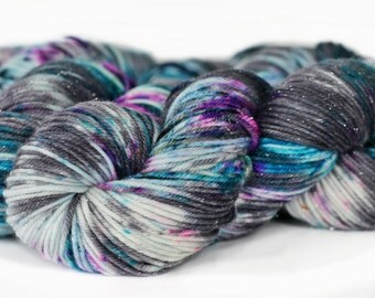 Epic 231 yards on 'Glitter' DK Yarn/ 3 ply merino wool yarn, handpainted sprinkle