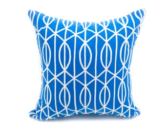 Trellis Decorative Throw Pillow Cover, Modern Geometric Pillow Case, Royal Blue Linen Pillow Gray Silver Trellis Embroidery, Couch Pillow