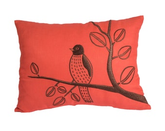 Bird Lumbar Pillow Cover, Decorative Pillow Cover, Red Orange Linen, Dark Brown Bird, Pillow Case,Pillow accent,Embroidered Cushion Cover