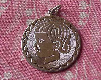 Vintage Sterling Girl Child Profile Silhouette Disk Birthday Charm