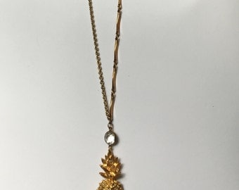 Be A Pineapple: Vintage Rhinestone & Golden Pineapple Pendant Necklace-Heirloom Collection