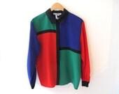 80s Mondrian Long Sleeve Button Up Shirt