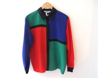 80s Mondrian Long Sleeve Button Up Shirt