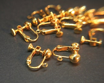 Gold plated brass hinged screw-back ear clip - earring findings convert to non pierced.