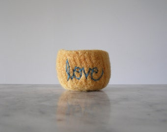"Felt Bowl - Small Soft Felted Wool Bowl - Pale Yellow with Turquoise Embroidered  ""love"" - Gifts for Mom - Anniversary Wool Gift - Ring Dish"