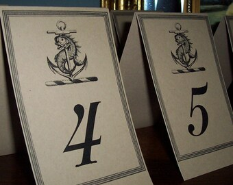 Beach Wedding Table Number Cards Fish Anchor Kraft or Cream Set 18 Nautical Ocean Sea Wedding Decor Reception Rehearsal Dinner Cottage