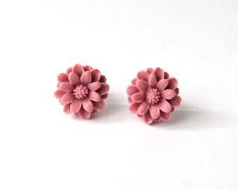 Pink Flower Earrings, Pink Flower Studs, Floral Earrings, Floral Jewellery, Stainless Steel Studs
