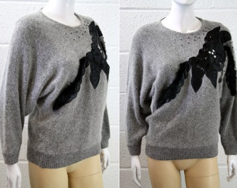 Vintage Gray Angora Soft Sweater with Black Accent