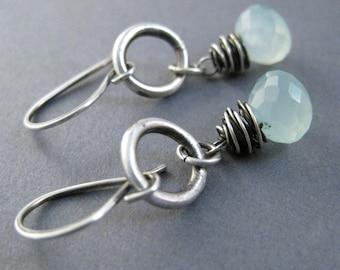 Aqua Chalcedony Earrings, Fine Silver Circle Dangle, Wire Wrapped Gemstone Earrings, Sea Blue Earrings