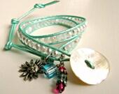 BOGO. Handmade beaded leather wrap ladder bracelet. Double, pearl, opalescent, AB, metallic, turquoise. Eco.