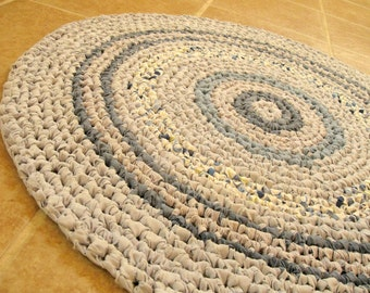 """Eco rag rug, mat, in shades of blue, crochet, round, cottage, country, ocean, beach, farmhouse, reuse, recycle, 28""""."""