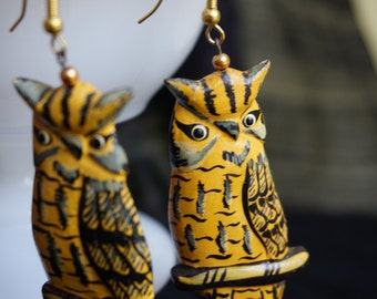 Adorable Hand-Painted Owl Earrings