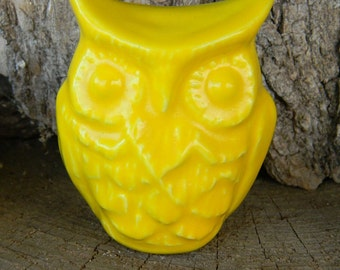 Owl Ceramic Glazed Owl Lots of detail  Handmade...  Ready to ship  Yellow sun ob