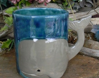 Whale Mug  - Ceramic Hand painted Ocean themed Coffee Tea or Drink Cup