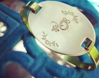 Monogram Oval Bracelet, custom brass bracelet, Inspirational Jewelry, Birthday gift, BFF gift, Girlfriend gift