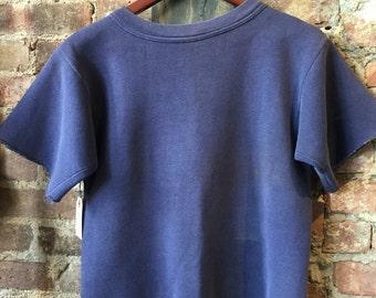 Vintage sunfaded Navy Short Sleeve Sweatshirt