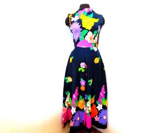Vintage 60s 70s Palazzo Pant Wide Leg Jumpsuit Hippie Flower Power Disco Retro Costume Party S Small
