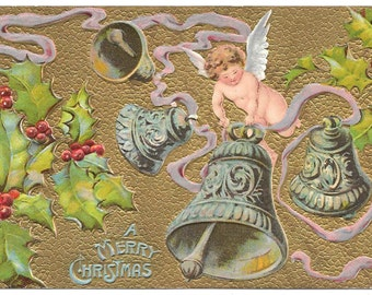 Antique CHRISTMAS Postcard Angel Wings Bells Holly 1910s Holiday
